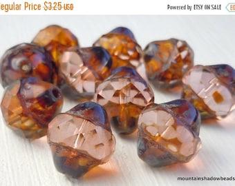25% OFF Summer Sale Rosaline Picasso Czech Glass Beads 12mm Faceted Turbine - 10 (G - 676)