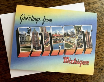 Greetings From Detroit Card - #5  - Blank Inside