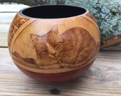 Cats in Windows gourd art bowl Pyrography