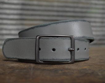 Distressed Slate Leather Belt by Fosterweld