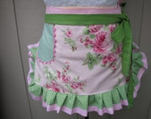 Womens Aprons - Aprons with Pink Roses - Handmade Aprons - Hot Pink Roses Apron - Shabby Chic Apron - Annies Attic Aprons - Handmade Aprons