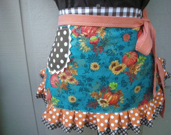 Womens Aprons - Thanksgiving Aprons - Womens Thanksgiving Aprons - Fall Aprons - Etsy Aprons - Annies Attics Aprons - Sunflower Aprons