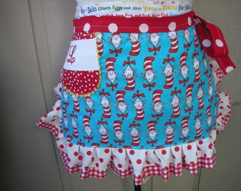 Monogrammed Aprons - Dr. Seuss Womens Handmade Aprons - Cat In The Hat Aprons - Annies Attic Aprons - Teacher Gifts - Annies Attic Aprons