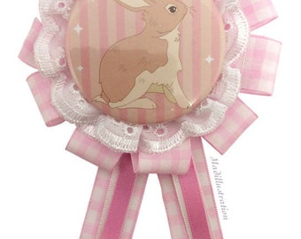 Lace Bunny Fashion Rosette Brooch – Pink