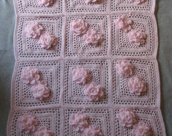 Crochet Pattern - Pink Flower Baby Afghan Crochet Pattern -Baby Blanket Pattern - Baby Crochet Pattern - Digital Download