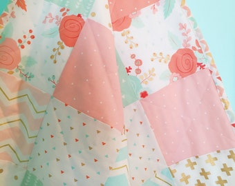 Pretty patchwork minky quilt in pink and aqua
