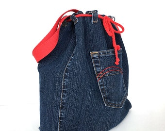 Drawstring bucket bag, Denim shoulder bag, Jean crossbody bag,Recycled side purse,Teens travel bag, Veagn fashion, Denim weekend tote purse
