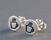 Stud Earrings , Coffee Jewelry , Small Sterling Silver Coffee Mug Earrings