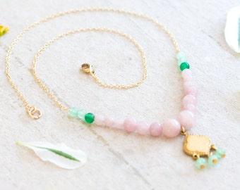 Beaded Pink Gemstone Pendant Necklace, Boho Pendant Necklace, Mixed Gemstone Necklace