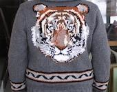 Womens Tiger Cardigan Sweater, Custom Graphic on Grey Background