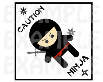 """PDF: """"Cute but Fierce"""" Ninja Crossing Sign - Printable Instant Download Warning Caution Zone silhouette"""