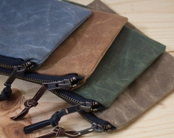 WAXED CANVAS - Zippered Pouch, Wallet, Cosmetic Bag - Padded and Weather Resistant - Choose your Color