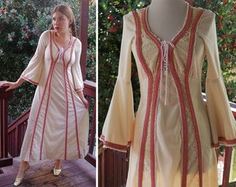 RENAISSANCE 1960's 70's Vintage Cream White Maxi Dress Gown with Long BELL Sleeves + Pink Gold Trim // size Small