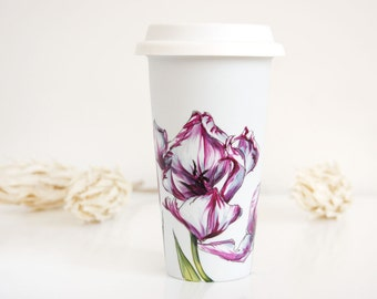 White Ceramic Travel Mug - Tulips, Botanical Collection