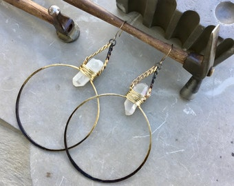 Large hoop earrings, quartz crystal hoop earrings, brass hammered hoops, ombré hoop earrings, two tone metal jewelry, raw stone jewelry