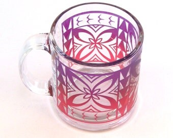 Samoan Flower - Coffee Mug - Etched and Painted Glassware - Custom Made to Order