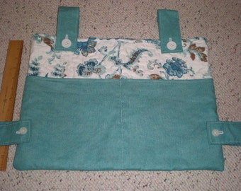 Teal Aqua and Blue Print Walker Bag Tote