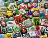 Fun and Funky Assortment -  100 Piece Fused Glass Cabochons