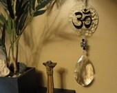 Om Suncatcher, Glass Sculpture, Ornament, Vintage Crystal, Hand Painted, Home Decor, Window Hanging, Meditation, Yoga, Garden Art, Peace