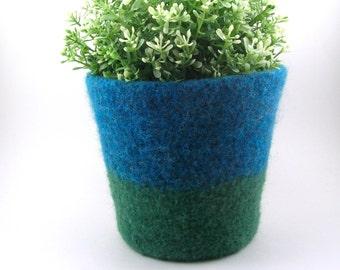 Felted wool planter - felted pot - wool utensil holder - ocean blue and grass green