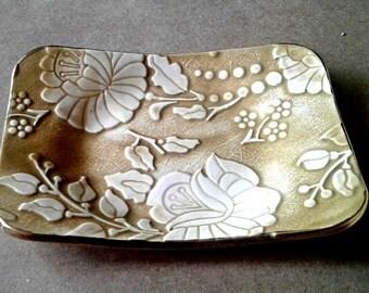 Ceramic Soap Dish Mustard Yellow edged in Gold