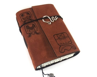 Leather Journal, handmade, Mayan