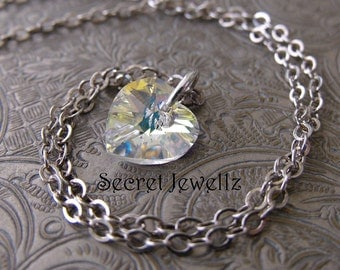 Swarovski® Crystal Heart Necklace, Clear Crystal Necklace, Aurora Borealis, AB Crystal Pendant, Petite Crystal Necklace, Sterling Silver