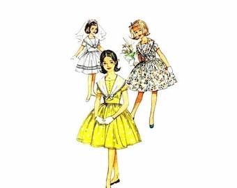SALE 1960s Girls Midriff Full Skirt Dress Simplicity 3848 Vintage Sewing Pattern Size 8