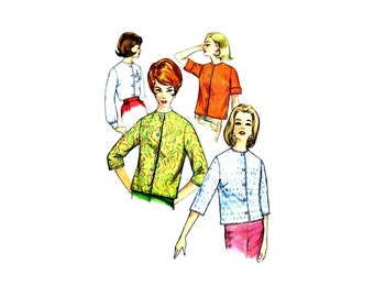 1960s Misses Blouse Simplicity 4464 Vintage Sewing Pattern Size 12 Bust 32