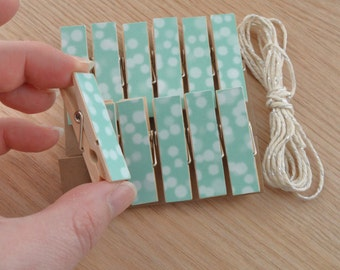 Bokeh Teal Turquoise Chunky Little Clothespin Clips w Twine for Display -  Set of 12