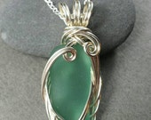 Teal Sea Glass Silver Sculpted Wire Wrapped Pendant
