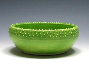 Small Green Bowl, Lime Green Bowl, Dotted Bowl, Ceramic Bowl, Pottery Bowl