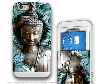 Zen Buddha iPhone 6 6s Cardholder Case - Mind Bloom - Buddhist Floral Art - Blue Buddha Credit Card Holder iPhone 6s Case with Rubber Sides