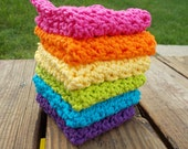 Crochet Rainbow Dishcloth/ Washcloth - Handmade Wash Rag -Set of 6 Kitchen Dish Cloths-Brights-Ultimate Stack-Large Set