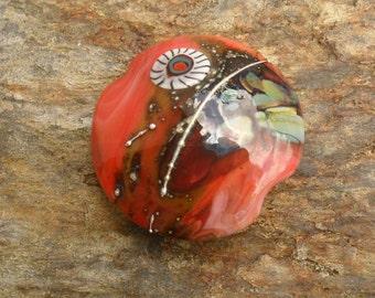Coral Raku Lentil Focal, Artisan Lampwork Handmade SRA Glassymom