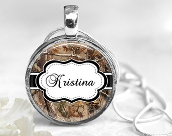 Camouflage  Pendant, Cami Pendant, Silver Pendant, Name Necklace, Resin Pendant, Nature Pendant, Name Jewelry, Name Pendant, Brown Cami