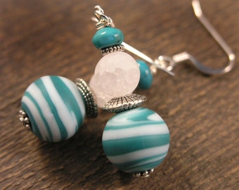 Teal green and white swirl matte glass beads, quartz stone and turquoise stone handmade silver earrings