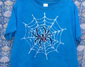 Kids Handmade Batik Halloween Spider Web T-shirt