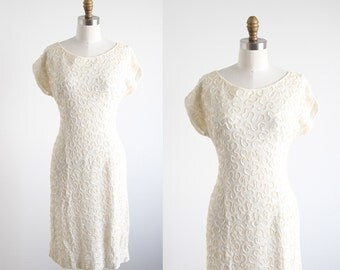 Vintage Cream Sequin Swirl Dress