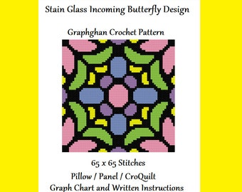 Stain Glass Incoming Butterfly Design - Pillow / Panel / CroQuilt - Graphghan Crochet Pattern