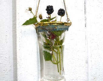 SALE ! Was 84 now 48 ( limited time )Hanging Bud Vase - Boho Chic Delight - Soldered and assembled- One of a Kind Glass Vase