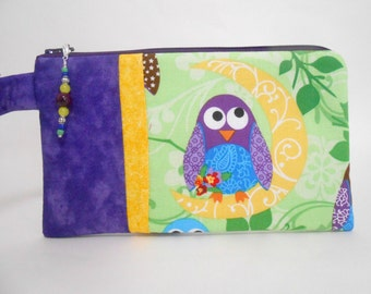Owl Wristlet with Beaded Zipper Pull
