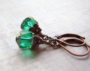 Emerald Green Earrings Antique Copper 8 mm Cathedral Glass Dangle Handmade