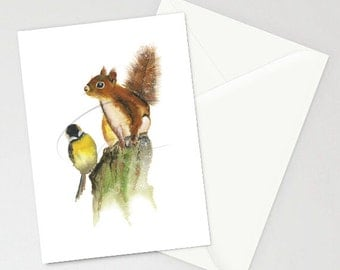 Greeting Card - COMPANY - Squirrel Bird Friends Nature Together Friendly Watercolor Art Print