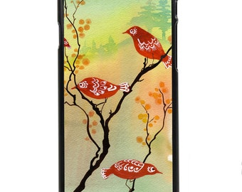 "Phone Case ""Dusk-Lit Gathering"" - Watercolor Art Giclee Print Birds Sunset Autumn Leaves Nesting Painting By Olga Cuttell"