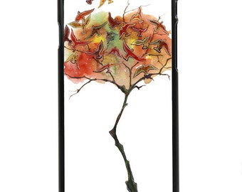 """Phone Case """"Rising Fall"""" - Watercolor Art Giclee Print Autumn Tree Colorful Leaves Bird Landscape Painting By Olga Cuttell"""