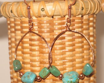 Hammered Copper & American Turquoise Earrings