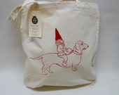 Dachshund and Gnome Cotton Canvas Tote Bag,  Natural Hand Printed Market Tote, Book Bag, Hostess Gift, Teachers Gift