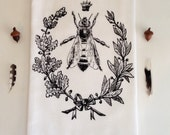 Queen Bee Dish Towel, Hand Printed  Towel,  Hostess Gift, Teachers Gift, Dark Brown/black Ink,  Soft Cotton, Made in USA