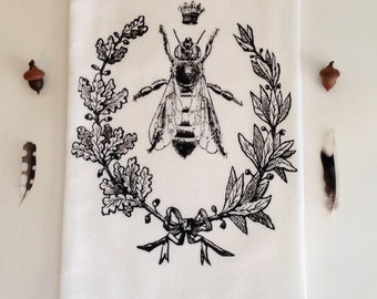 Queen Bee Dish Towel, Hand Printed  Towel,  Hostess Gift, Teachers Gift, Dark Brown/black Ink,  Soft Cotton